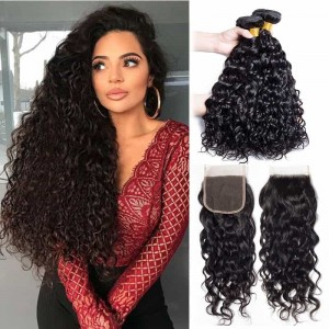 Sokucca Peruvian Water Wave Hair 4 Bundles With 4X4 Lace Closure Deals