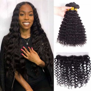 Sokucca Malaysian Deep Wave 4 bundles With 13X4 Lace Frontal With Baby Hair