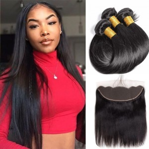 Sokucca Straight Virgin Brazilian Hair 3 Bundles With 13X4 Transparent Lace Frontal