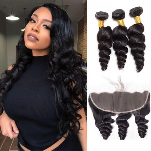 Sokucca Loose Wave Premium Remy Indian Hair 3 Bundles With Transparent Lace Frontal