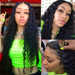 Sokucca Brazilian 13x4 Lace Frontal With 4 Bundles Water Wave Hair Vendors
