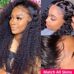Sokucca 9A Grade 4x4 Transparent Lace Closure Kinky Curly Human Hair Wigs