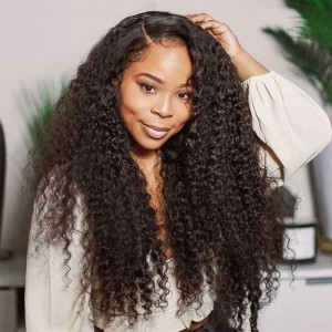 Sokucca Indian Kinky Curly 4 Bundles Deals With 13X4 Lace Frontal