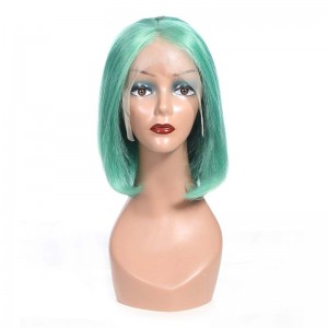 Sokucca New Trendy Green Color Straight Short Bob 13x4&13x6 Lace Frontal Wig