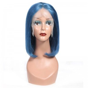 Sokucca Blue Color Straight Short Bob Human Hair Wig With Baby Hair Online Sale