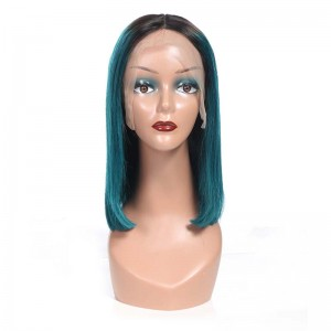 Sokucca Top Quality 1bGreen Color 13x4&13x6 Lace Frontal Straight Short Bob Wig