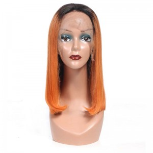 Sokucca Pre-plucked Wig Human Hair 1bOrange Color 13X4&13X6 Lace Frontal Wig Straight Short Bob Hair
